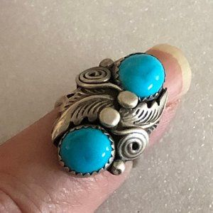 Vintage Signed Sterling Turquoise  Ring